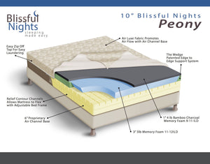 Blissful Nights Peony 10 in. Bamboo Charcoal Memory Foam Mattress - 10PENY-Mattresses-HipBeds.com