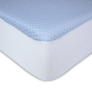 Sleep Chill + Crystal Gel Mattress Protector w/ Cooling Fibers & Blue 3-D Fabric, Full XL-Protectors & Encasements-HipBeds.com