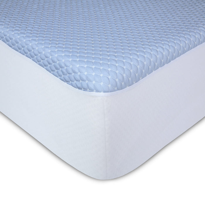 Sleep Chill + Crystal Gel Mattress Protector w/ Cooling Fibers & Blue 3-D Fabric, Full XL