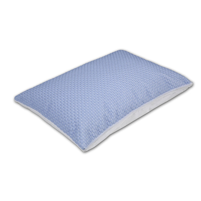 Sleep Chill + Crystal Gel Pillow Protector w/ Cooling Fibers & Blue 3-D Fabric, Standard / Queen