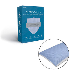 Sleep Chill + Crystal Gel Pillow Protector w/ Cooling Fibers & Blue 3-D Fabric, Standard / Queen-Protectors & Encasements-HipBeds.com