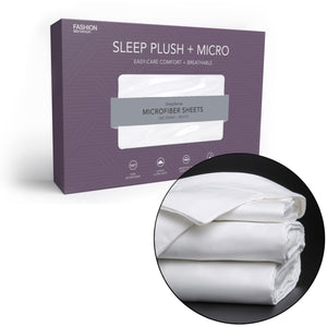 Sleep Plush + White 4-Piece Microfiber 500g Bed Sheet Set Wrinkle Free, Queen-Bed Sheets-HipBeds.com