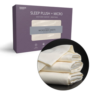 Sleep Plush + Beige 4-Piece Microfiber 500g Bed Sheet Set Wrinkle Free, Full-Bed Sheets-HipBeds.com