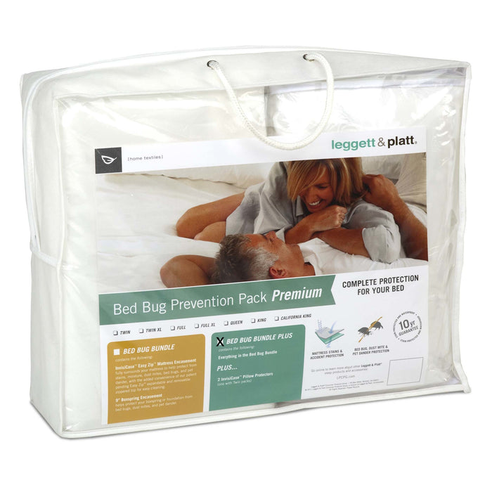 SleepSense 4-Piece Premium Bed Bug Prevention Pack Plus w/ InvisiCase Pillow Protectors & Bed Encasement Bundle, Full XL
