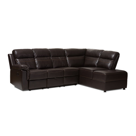 Baxton Studio Roland Brown Leather 2-Piece Sectional with Recliner & Storage Chaise-Sofas-HipBeds.com