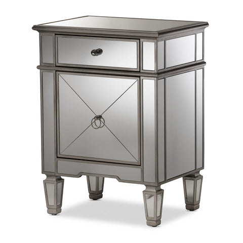 Baxton Studio Claudia Hollywood Regency Mirrored Nightstand - 1