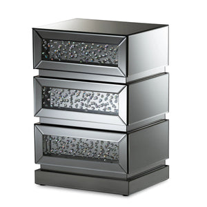 Baxton Studio Sabrina Hollywood Regency Mirrored 3-Drawer Nightstand-Nightstands-HipBeds.com