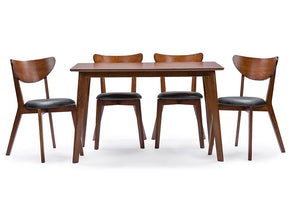 "Baxton Studio Sumner Mid-Century Style ""Walnut"" Brown 5-Piece Dining Set-Furniture Sets-HipBeds.com"