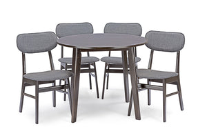 Baxton Studio Debbie Mid-Century Dark Brown Wood 5PC Dining Set-Furniture Sets-HipBeds.com