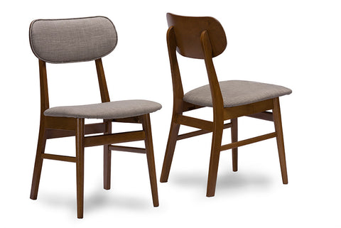 Baxton Studio Sacramento Mid-Century Dark Walnut Wood Grey Fabric Dining Chair - Set of 2-Chairs-HipBeds.com