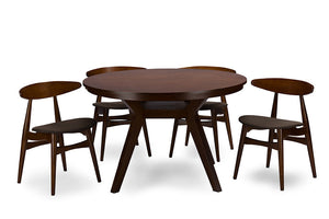 Baxton Studio Flamingo Mid-Century Dark Walnut Wood 5PC Dining Set-Furniture Sets-HipBeds.com