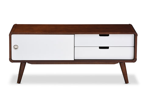 Baxton Studio Armani Mid-century Modern Dark Walnut and White Two-tone Finish 2-drawer with Sliding Door Wood TV Cabinet