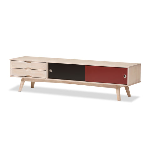 Baxton Studio Foxhill Scandinavian Inspired Multi-colored Rubberwood TV Stand - 1