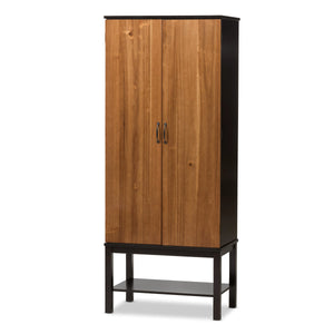 Baxton Studio Marya Brown & Walnut Rubberwood MDF Veneered Wine Cabinet-Cabinets-HipBeds.com