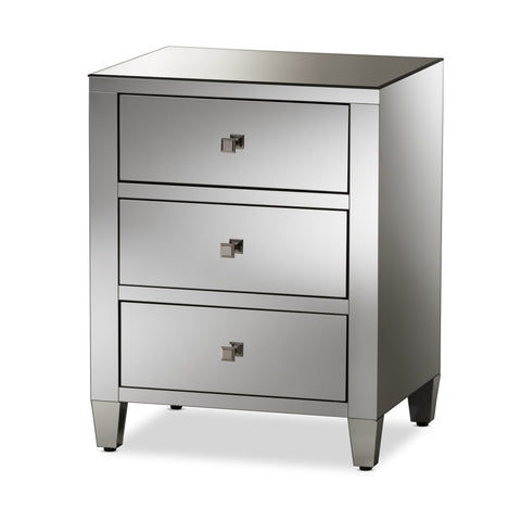 Baxton Studio Rosalind Hollywood Regency Mirrored 3-Drawer Nightstand - 1