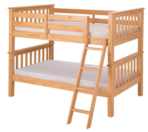 Santa Fe Mission Low Bunk Bed Twin over Twin - Angle Ladder - Natural Finish - SF101_NT-Bunk Beds-HipBeds.com