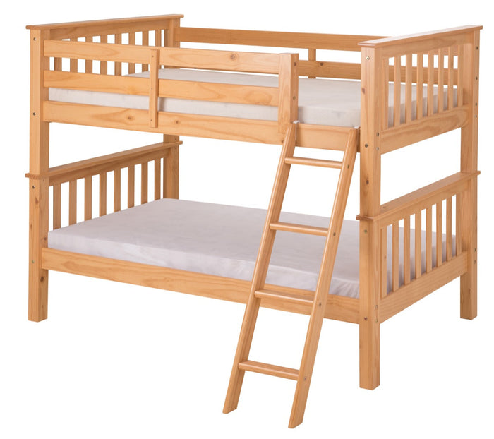 Santa Fe Mission Low Bunk Bed Twin over Twin - Angle Ladder - Natural Finish - SF101_NT
