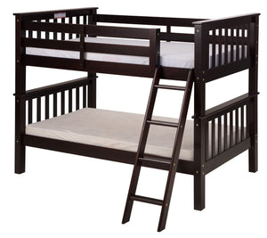 Santa Fe Mission Low Bunk Bed Twin over Twin - Angle Ladder - Cappuccino Finish - SF102_CP-Bunk Beds-HipBeds.com