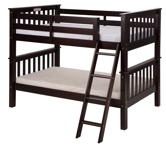 Santa Fe Mission Low Bunk Bed Twin over Twin - Angle Ladder - Cappuccino Finish - SF102_CP