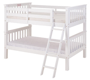 Santa Fe Mission Low Bunk Bed Twin over Twin - Angle Ladder - White Finish - SF103_WH-Bunk Beds-HipBeds.com