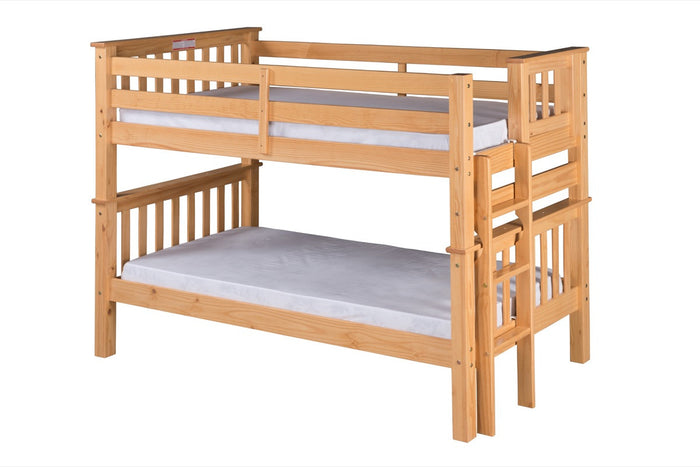 Santa Fe Mission Low Bunk Bed Twin over Twin - Bed End Ladder - Natural Finish - SF201_NT