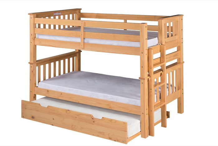 Santa Fe Mission Low Bunk Bed Twin over Twin - Bed End Ladder - Natural Finish - with Twin Size Under Bed Trundle - SF201_TR