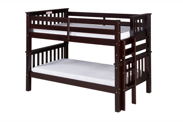 Santa Fe Mission Low Bunk Bed Twin over Twin - Bed End Ladder - Cappuccino Finish - SF202_CP