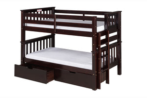 Santa Fe Mission Low Bunk Bed Twin over Twin - Bed End Ladder - Cappuccino Finish - with Under Bed Drawers - SF202_DR-Bunk Beds-HipBeds.com