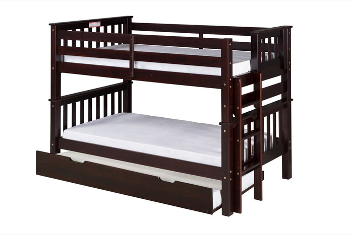 Santa Fe Mission Low Bunk Bed Twin over Twin - Bed End Ladder - Cappuccino Finish - with Twin Size Under Bed Trundle - SF202_TR