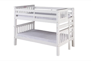 Santa Fe Mission Low Bunk Bed Twin over Twin - Bed End Ladder - White Finish - SF203_WH-Bunk Beds-HipBeds.com