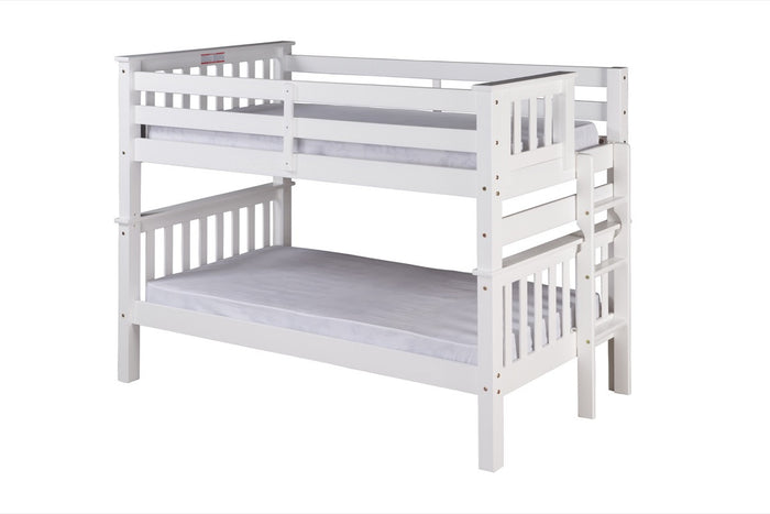 Santa Fe Mission Low Bunk Bed Twin over Twin - Bed End Ladder - White Finish  - SF203_WH