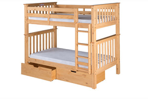 Santa Fe Mission Tall Bunk Bed Twin over Twin - Attached Ladder - Natural Finish - with Under Bed Drawers - SF301_DR-Bunk Beds-HipBeds.com