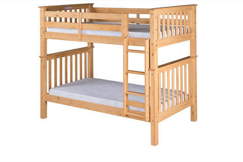 Santa Fe Mission Tall Bunk Bed Twin over Twin - Attached Ladder - Natural Finish - SF301_NT-Bunk Beds-HipBeds.com