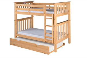 Santa Fe Mission Tall Bunk Bed Twin over Twin - Attached Ladder - Natural Finish - with Twin Size Under Bed Trundle - SF301_TR-Bunk Beds-HipBeds.com
