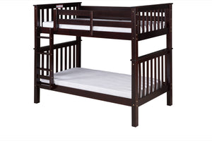 Santa Fe Mission Tall Bunk Bed Twin over Twin - Attached Ladder - Cappuccino Finish - SF302_CP-Bunk Beds-HipBeds.com
