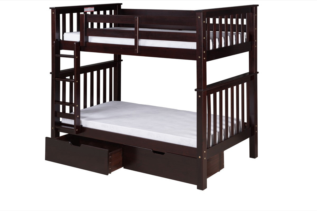 Santa Fe Mission Tall Bunk Bed Twin Over Twin Attached