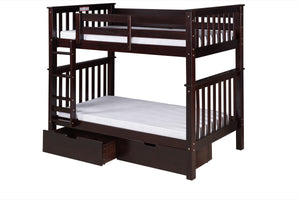 Santa Fe Mission Tall Bunk Bed Twin over Twin - Attached Ladder - Cappuccino Finish - with Under Bed Drawers - SF302_DR-Bunk Beds-HipBeds.com