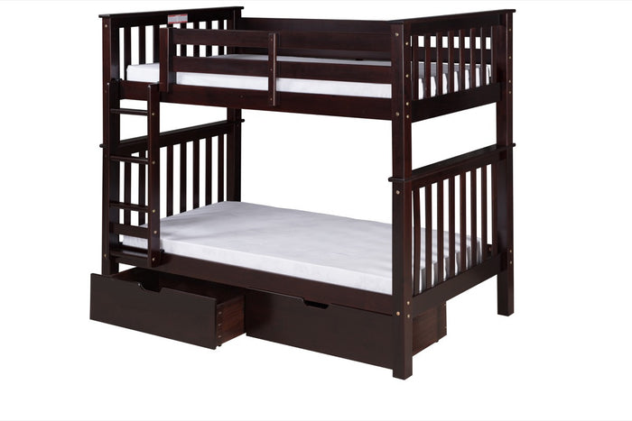 Santa Fe Mission Tall Bunk Bed Twin over Twin - Attached Ladder - Cappuccino Finish - with Under Bed Drawers - SF302_DR
