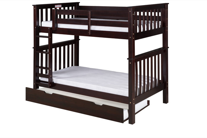 Santa Fe Mission Tall Bunk Bed Twin over Twin - Attached Ladder - Cappuccino Finish - with Twin Size Under Bed Trundle - SF302_TR