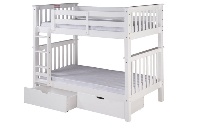 Santa Fe Mission Tall Bunk Bed Twin over Twin - Attached Ladder - White Finish with Under Bed Drawers - SF303_DR
