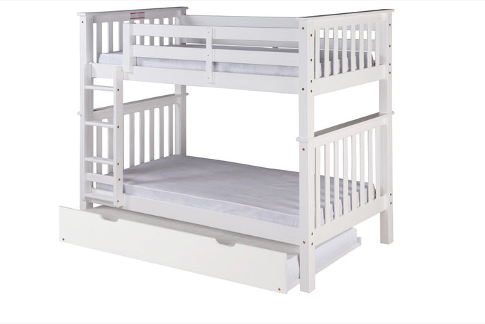 Santa Fe Mission Tall Bunk Bed Twin over Twin - Attached Ladder - White Finish with Twin Size Under Bed Trundle - SF303_TR
