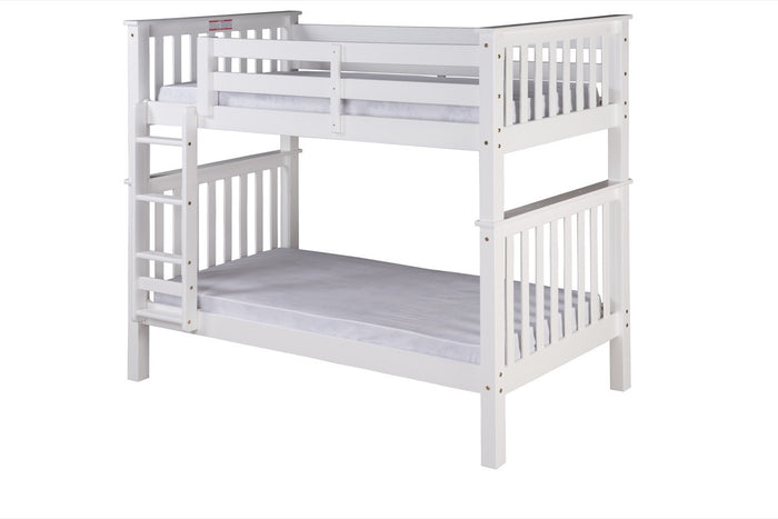 Santa Fe Mission Tall Bunk Bed Twin over Twin - Attached Ladder - White Finish - SF303_WH