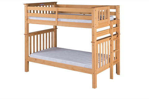 Santa Fe Mission Tall Bunk Bed Twin over Twin - Bed End Ladder - Natural Finish - SF401_NT-Bunk Beds-HipBeds.com