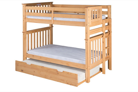 Santa Fe Mission Tall Bunk Bed Twin over Twin - Bed End Ladder - Natural Finish - with Twin Size Under Bed Trundle - SF401_TR-Bunk Beds-HipBeds.com