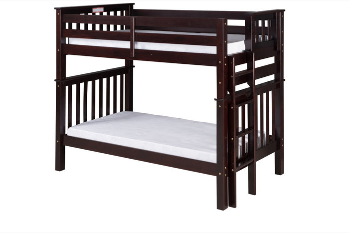 Santa Fe Mission Tall Bunk Bed Twin over Twin - Bed End Ladder - Cappuccino Finish - SF402_CP