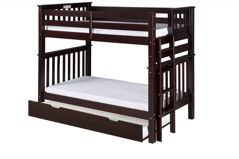 Santa Fe Mission Tall Bunk Bed Twin over Twin - Bed End Ladder - Cappuccino Finish - with Twin Size Under Bed Trundle - SF402_TR-Bunk Beds-HipBeds.com
