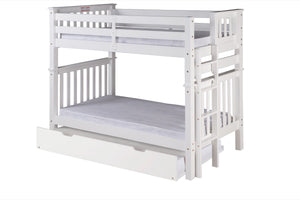 Santa Fe Mission Tall Bunk Bed Twin over Twin - Bed End Ladder - White Finish - with Twin Size Under Bed Trundle - SF403_TR-Bunk Beds-HipBeds.com