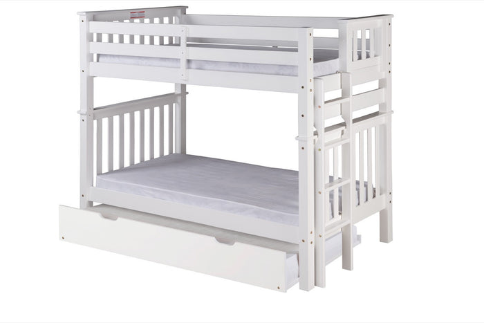 Santa Fe Mission Tall Bunk Bed Twin over Twin - Bed End Ladder - White Finish - with Twin Size Under Bed Trundle - SF403_TR