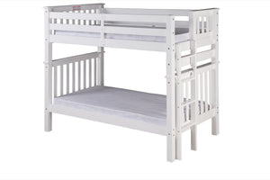 Santa Fe Mission Tall Bunk Bed Twin over Twin - Bed End Ladder - White Finish - SF403_WH-Bunk Beds-HipBeds.com