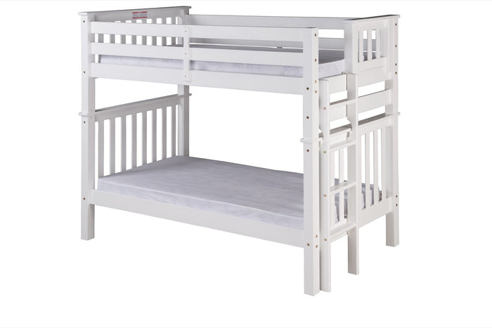 Santa Fe Mission Tall Bunk Bed Twin over Twin - Bed End Ladder - White Finish - SF403_WH